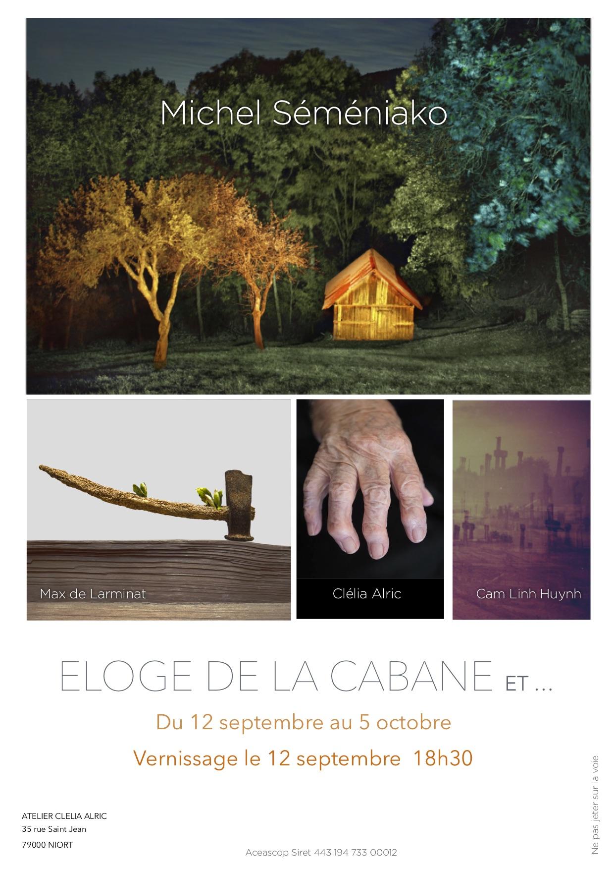 """affiche de l'exposition """"Eloge de la cabane"""""""